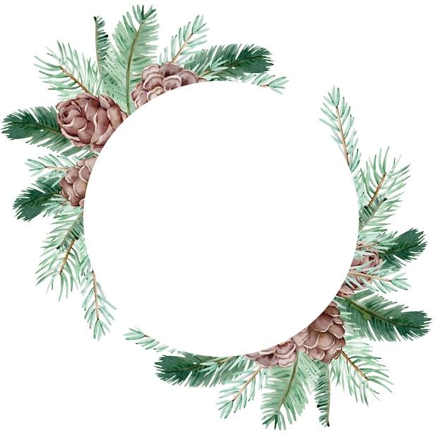 Akwarela boże narodzenie zimowy wieniec z szyszek i gałęzi sosny na białym tle