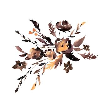 Akwarela brązowe kwiaty streszczenie