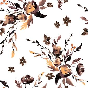 Akwarela brązowy streszczenie kwiaty wzór