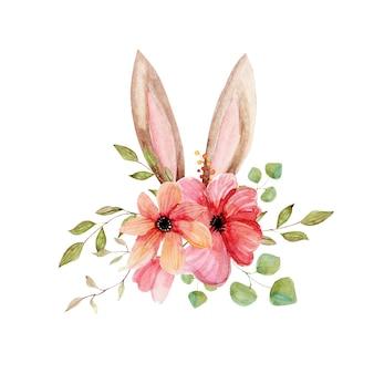 Akwarela bukiet kwiatów z uszami króliczek wielkanocna ilustracja clipart