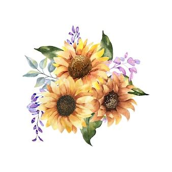 Akwarela bukiet kwiatowy. dzikie, leśne zioła, kwiaty, gałęzie. ilustracja na białym tle, zielone liście. ręcznie malowana kolekcja elementów kwiatowych.