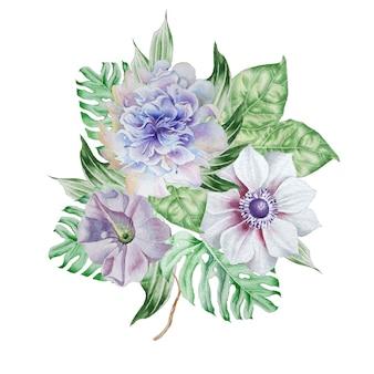 Akwarela bukiet z kwiatami. anemon. petunia. piwonia. wyciągnąć rękę.