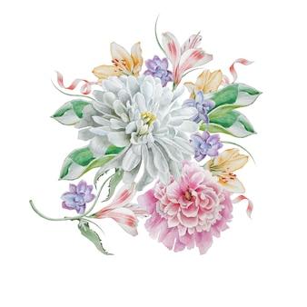 Akwarela bukiet z kwiatami. chryzantema. piwonia. ilustracja. wyciągnąć rękę.