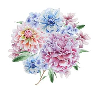 Akwarela bukiet z kwiatami. dalia. anemon. piwonia. wyciągnąć rękę.
