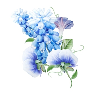 Akwarela bukiet z kwiatami. petunia. bratki. hiacynt. akwarela ilustracja. wyciągnąć rękę.