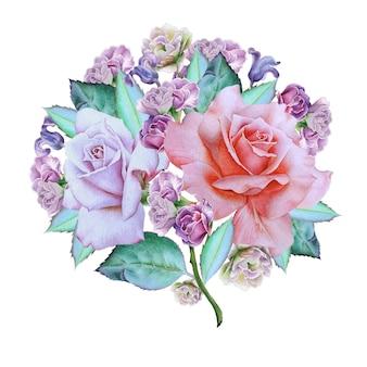 Akwarela bukiet z kwiatami. róża. hiacynt. ilustracja. wyciągnąć rękę.
