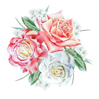 Akwarela bukiet z kwiatami. róża. ilustracja. wyciągnąć rękę.