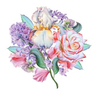 Akwarela bukiet z kwiatami. róża. irys. hiacynt. ilustracja. wyciągnąć rękę.