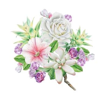 Akwarela bukiet z kwiatami. róża. jarzębina. sukulenty. ilustracja. wyciągnąć rękę.