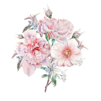 Akwarela bukiet z kwiatami. róża. piwonia. malwa. ilustracja. wyciągnąć rękę.