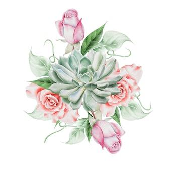 Akwarela bukiet z kwiatami. róża. soczysty. ilustracja. wyciągnąć rękę.