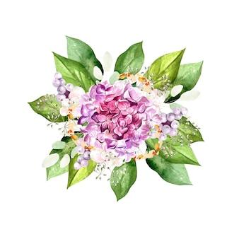 Akwarela bukiet z kwiatów hortensji, roślin i liści. ilustracja