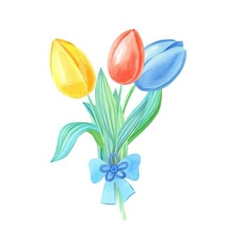Akwarela bukiet z żółtymi, czerwonymi, niebieskimi tulipanami
