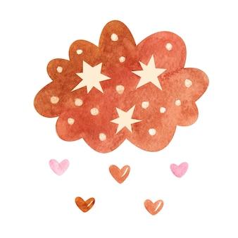 Akwarela chmura z gwiazdami i sercami w neutralnych pastelowych kolorach na białym tle.