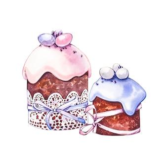 Akwarela ciasto wielkanocne. ręcznie rysować ilustracje akwareli na białym tle. kolekcja wielkanocna.
