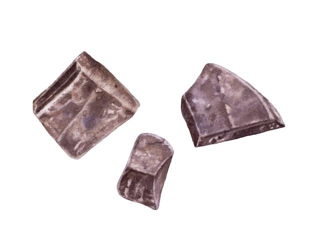 Akwarela ciemna czekolada na białym tle.