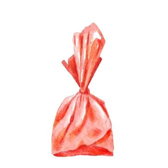 Akwarela cukierki zawinięte w czerwony papier