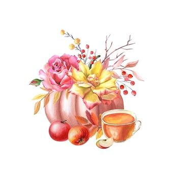 Akwarela czerwona dynia, filiżanka herbaty, żółta, różowa róża, jabłka, liście, czerwone jagody na białym tle. jesienna aranżacja. ilustracja na święto dziękczynienia. świeże zbiory. na białym tle ręcznie rysowane szkic.