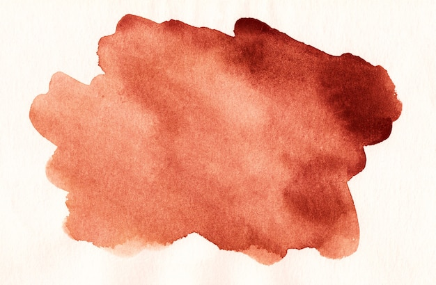 Akwarela czerwona plama na białym tle tekstury. zardzewiałe plamy na papierze.