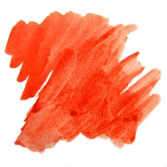 Akwarela czerwona plama powierzchni na białym tle.