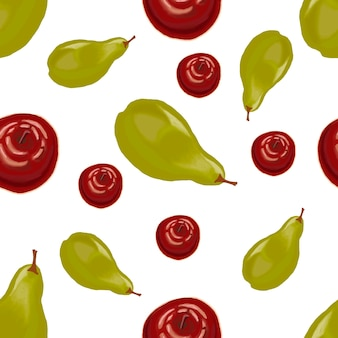 Akwarela czerwone jabłka i zielone gruszki wzór na białym tle