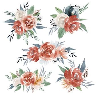 Akwarela czerwone kwiaty i róże