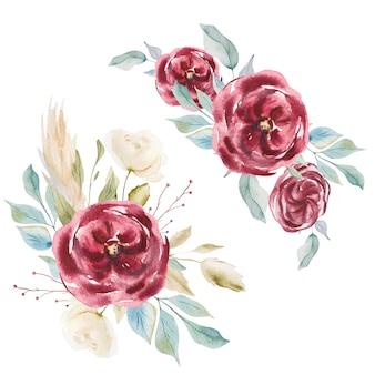 Akwarela czerwone róże