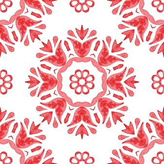 Akwarela czerwony i biały bez szwu ręcznie malowany wzór mandali kwiatowej
