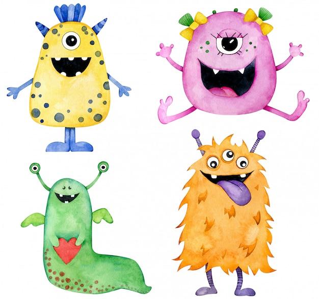 Akwarela cztery kolorowe uśmiechnięte potwory. żółte, różowe, zielone i pomarańczowe postacie z kreskówek.