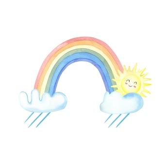 Akwarela deszcz, tęcza, chmury, słońce na białym