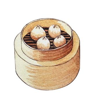 Akwarela dim sum w drewnianym parowcu