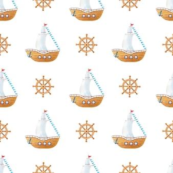 Akwarela drewniany statek z żaglami, flagami, kierownicą, kotwicą