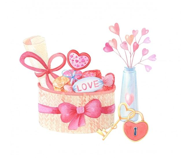 Akwarela dzianiny kosz i różowe serca