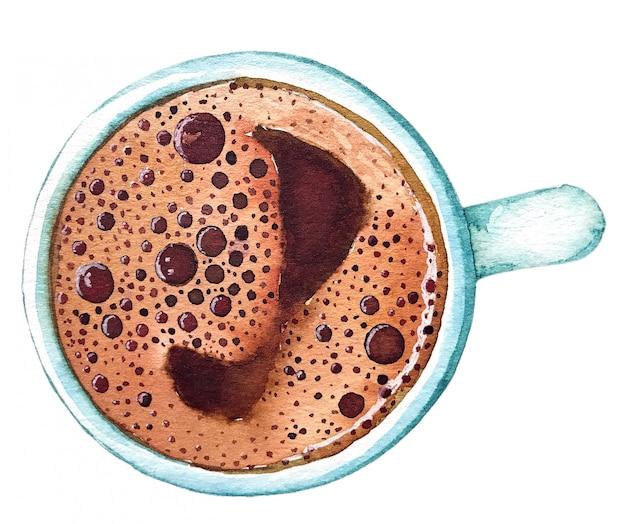 Akwarela filiżanki kawy po turecku, widok z góry.