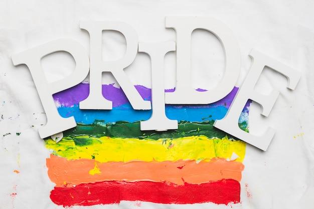 Akwarela flaga dumy gejowskiej z hasłem