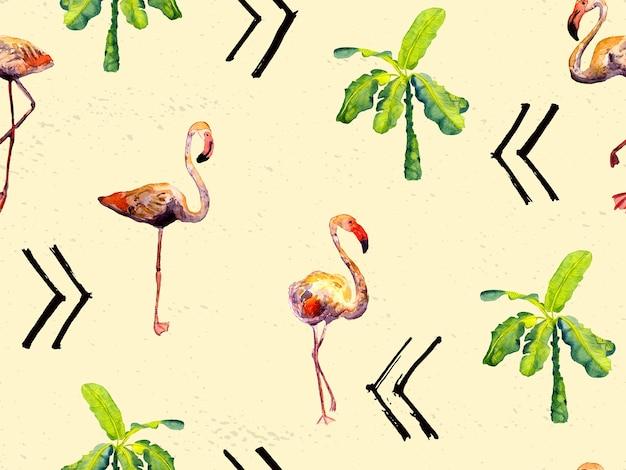 Akwarela flamingo wzór