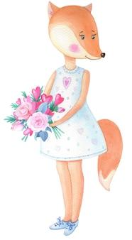 Akwarela fox z bukietem kwiatów. karta na walentynki, urodziny, inne święta.