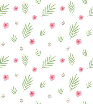 Akwarela gałąź palmy, różowe kwiaty bezszwowe tło