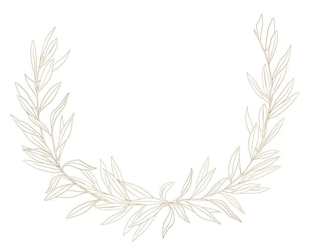Akwarela gałązka oliwna ilustracja złota rama