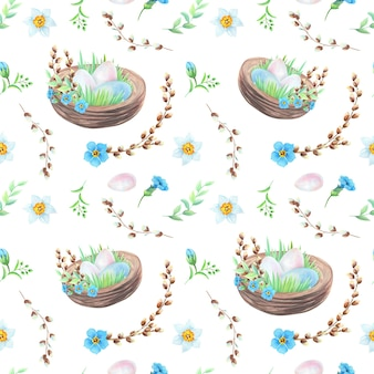 Akwarela gniazdo z pisanki i wzór kwiaty na białym tle. koncepcja wielkanocna.