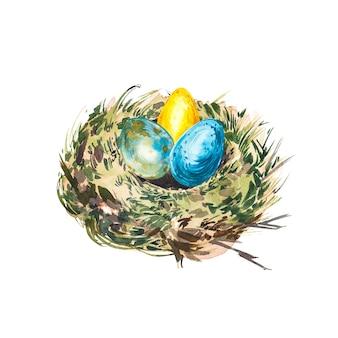 Akwarela gniazdo z ptasimi jajami. ręcznie rysować ilustracja akwarela. kolekcja wielkanocna.