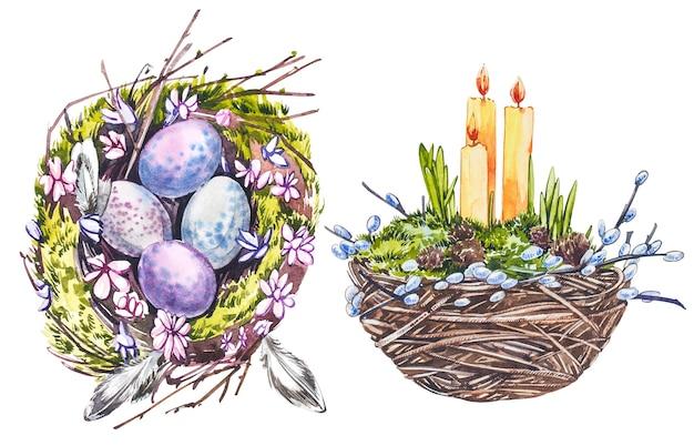 Akwarela gniazdo ze świecami wielkanocnymi i gałązkami wierzby