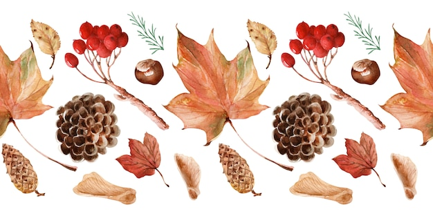 Akwarela granice jasna koronkowa jesień