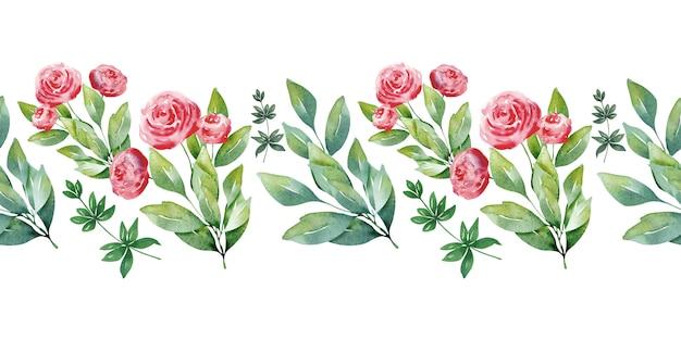 Akwarela granice wzór z uroczymi sercami i delikatnymi kwiatami