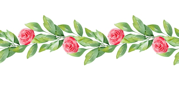 Akwarela Granice Wzór Z Uroczymi Sercami I Delikatnymi Kwiatami Premium Zdjęcia