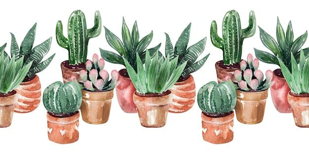 Akwarela granicy kolekcja kaktusów w doniczkach