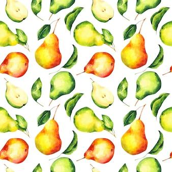 Akwarela gruszki bezszwowe wzór owoce powtarzają się nadruki