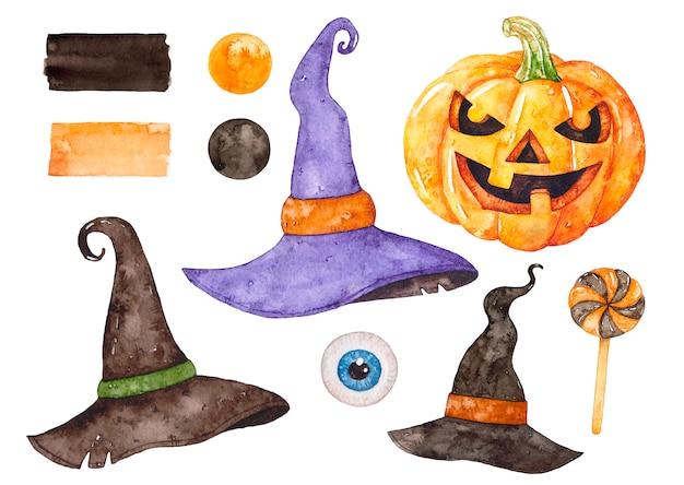 Akwarela halloween zestaw.