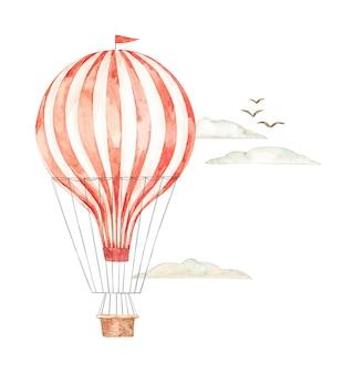 Akwarela ilustracja. balon na ogrzane powietrze na niebie. tło z retro sterowiec, chmury i ptaki