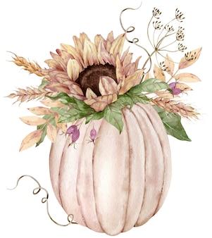 Akwarela ilustracja beżowej dyni ozdobionej słonecznikiem, jagodami, kwiatami kopru i kłosami pszenicy.